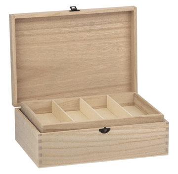 Holz, MDF, Pappe, Objekten zum Dekorieren Houten doos met vakken, 22 x 31 cm, voor vele decoraties!