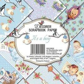 decorer Blocco di carta, carta scrapbook, 15 x 15 cm, baby