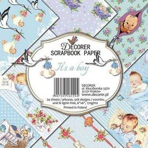 decorer Papirblok, scrapbogpapir, 15 x 15 cm, baby