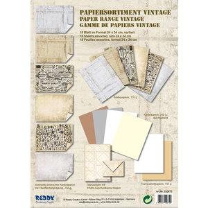Karten und Scrapbooking Papier, Papier blöcke Kartenkarton, Sortiment Vintage, Steinputz Vintage, weiss/ beige
