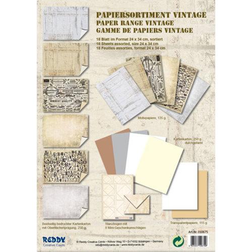 Karten und Scrapbooking Papier, Papier blöcke Kaartenbord, assortiment Vintage, steenpleister Vintage, wit / beige