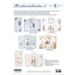 Set di carte Partecipazioni di nozze complete per 5 carte pieghevoli