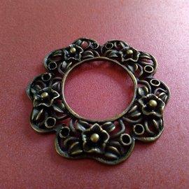 Embellishments / Verzierungen Bedel, 1 stuk, in vintage stijl, rond met floraal motief