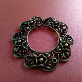 Embellishments / Verzierungen Charm, 1 pezzo, in stile vintage, rotondo con motivo floreale