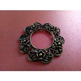 Embellishments / Verzierungen Charm, 1 stk, i vintage stil, rund med blomstermotiv