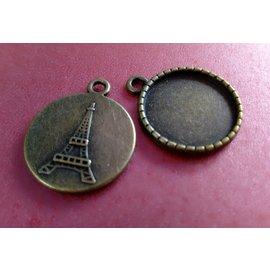 Embellishments / Verzierungen Bedels, 2 stuks, rond met motief van de Eiffeltoren