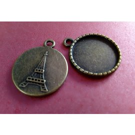 Embellishments / Verzierungen Charms, 2 pieces, round with Eiffel Tower motif