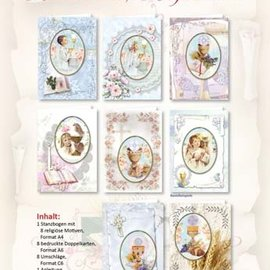 BASTELSETS / CRAFT KITS Craft Card Set, til 12 baby- / fødselsdagskort! 12 firkantede dobbeltkortformat 110 x 110 cm - Copy