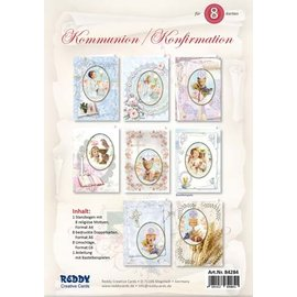 BASTELSETS / CRAFT KITS Bastel- Kartenset, für 8 Kommunion / Konfirmation Einladungskarten!