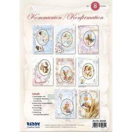 BASTELSETS / CRAFT KITS ¡Juego de tarjetas artesanales, para 8 tarjetas de invitación de comunión / confirmación!