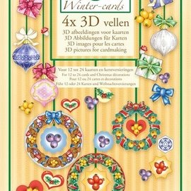 BASTELSETS / CRAFT KITS Marij Rahder Winter 4x illustrazioni 3D per mappe
