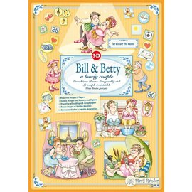 "BASTELSETS / CRAFT KITS Marij Rahder 3D Decoupage Bill & Betty,  ""A lovely Couple"""