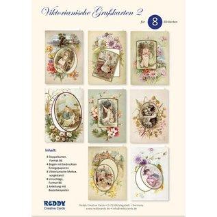 BASTELSETS / CRAFT KITS Komplet håndværkssæt til at designe 8 store, viktorianske invitationskort, lykønskningskort, for mange forskellige lejligheder!