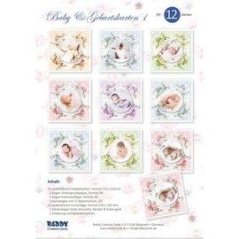 REDDY Set di carte artigianali, per 12 biglietti per neonati / compleanni! 12 carte doppie quadrate formato 110 x 110 cm