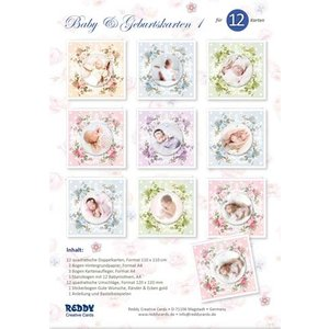 REDDY Craft Card Set, for 12 Baby / Birthday Cards! 12 square double cards format 110 x 110 cm