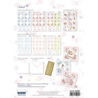 REDDY Bastel- Kartenset, für 12 Baby / Geburtstagskarten! 12 quadratische Doppelkarten Format 110 x 110 cm