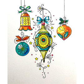 CREATIVE EXPRESSIONS und COUTURE CREATIONS Sello, A5, Weihnachtskügel, encantadora y hermosa!