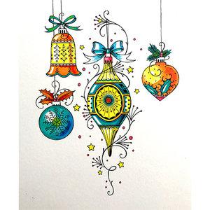 CREATIVE EXPRESSIONS und COUTURE CREATIONS Timbre, A5, Weihnachtskügel, d'une beauté enchanteresse!