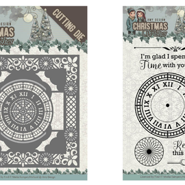AMY DESIGN Plantillas de corte + sello: clock frame 13 x 13 cm