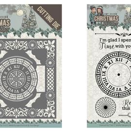 AMY DESIGN Stansning skabelon, Stansemal + Frimærke: clock frame 13 x 13 cm