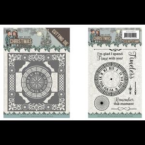 AMY DESIGN Snijmallen, Sjablonen + stempel:  clock frame 13 x 13 cm