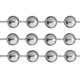 DEKOBAND / RIBBONS / RUBANS ... Deco kæde, sølv, perler er ca. 4 mm, meter varer