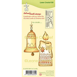 Leane Creatief - Lea'bilities und By Lene Timbro in gomma, timbro combinato in silicone Palla di Natale e candela