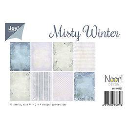 Karten und Scrapbooking Papier, Papier blöcke Designerkort og scrapbogspapir, Misty Winter, 12 ark, dobbeltsidet trykt, 3 x 4 designs.
