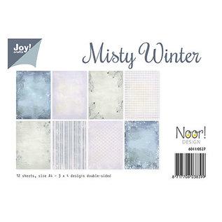 Karten und Scrapbooking Papier, Papier blöcke Carta di design e carta per album di ritagli, Misty Winter, 12 fogli, fronte / retro stampati, 3 x 4 disegni.