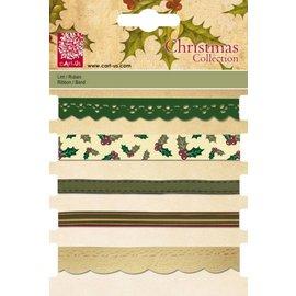 DEKOBAND / RIBBONS / RUBANS ... Set dekorative bånd, 5 x 1 mtr., Julemotiver