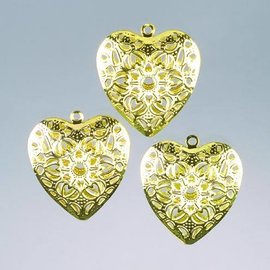 Embellishments / Verzierungen Metal heart hanger 6 cm 2 pcs Decoration Article Metal, choice in silver or gold