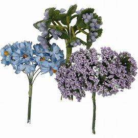 Embellishments / Verzierungen Håndlagde kunstige blomster, h: 10 cm, d: 7-8 cm, lilla, 3 design med 12 blomsterlommer hver