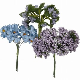 Embellishments / Verzierungen Handmade artificial flowers, h: 10 cm, d: 7-8 cm, purple, 3 designs with 12 flower buds each