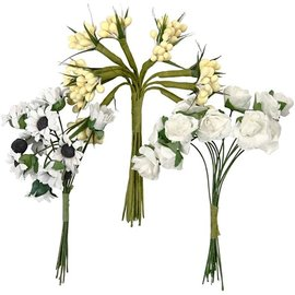 Embellishments / Verzierungen Handmade artificial flowers, h: 10 cm, d: 7-8 cm, 3 designs with 12 flower buds each