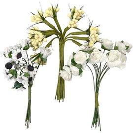 Embellishments / Verzierungen Håndlagde kunstige blomster, h: 10 cm, d: 7-8 cm, 3 design med 12 blomsterlommer hver