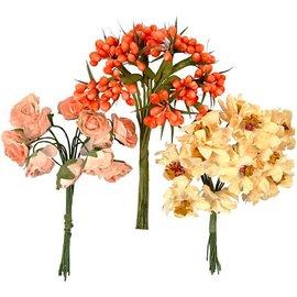 Embellishments / Verzierungen Håndlavede kunstige blomster, h: 10 cm, d: 7-8 cm, 3 designs med 12 blomsterknopper hver