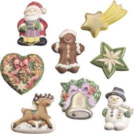 GIESSFORM / MOLDS ACCESOIRES Giessform, Modellierform mit 8 weihnachtliche Ornamenten