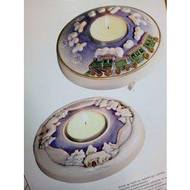 GIESSFORM / MOLDS ACCESOIRES 1 Giessform, Teelicht mit Auswahl Motiv Winterlandschaft oder mit Lokomotiv
