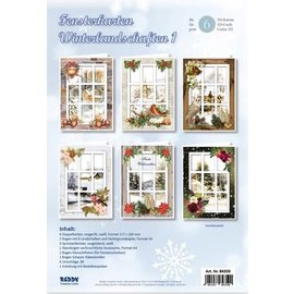 BASTELSETS / CRAFT KITS Bastelset für 6 Fensterkarten Winterlandschaften