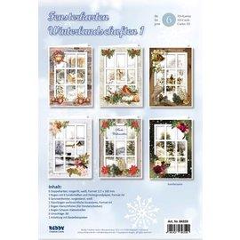 BASTELSETS / CRAFT KITS Bastelset pour 6 cartes de fenêtres paysages d'hiver