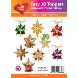 Bilder, 3D Bilder und ausgestanzte Teile usw... 10 3D Weihnachtssternen mit Glitter!