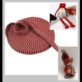Embellishments / Verzierungen Gebreide buis, B 22 mm, kerstrood / grijs, metergoederen