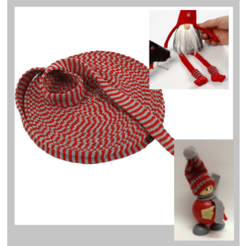 Embellishments / Verzierungen Strickschlauch, B 22 mm, Weihnachtsrot/Grau, Meterwaren