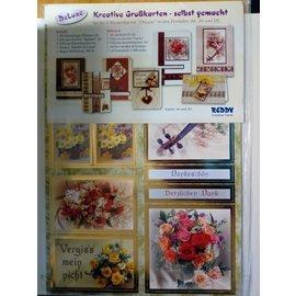 BASTELSETS / CRAFT KITS Reddy Deluxe, kortsett, blomster, med gullfolieeffekt!