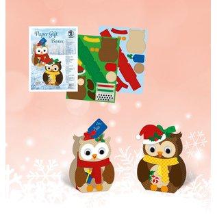 BASTELSETS / CRAFT KITS Crafting kit, geschenkdozen set uil, 8 dozen, geassorteerd in 2 motieven, veelkleurig