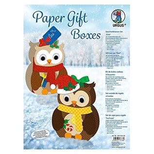 BASTELSETS / CRAFT KITS Crafting kit, gift boxes set owl, 8 boxes, assorted in 2 motives, multicolored