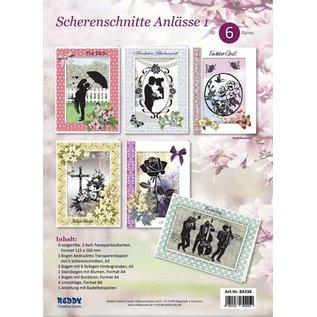 BASTELSETS / CRAFT KITS Karten Bastelset, für 6 Passepartoutkarten mit  Scherenschnitte