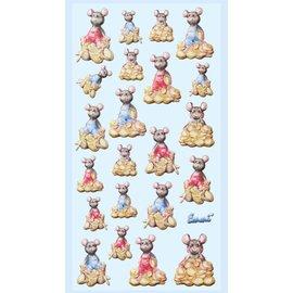 Embellishments / Verzierungen 3D-klistermærker, 22x søde penge mus, til design på kort, gavekort og meget mere!