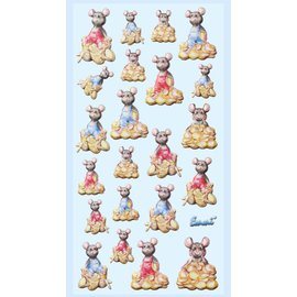 Embellishments / Verzierungen 3D stickers, 22x cute money mice, to design on cards, gift certificates and much more!