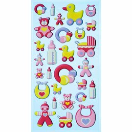 Embellishments / Verzierungen 3D-stickers, 28 baby-motieven. Om kaarten, geschenken, albums, scrapbooking en meer te versieren!